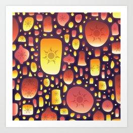 Tangled Lanterns Pattern Art Print