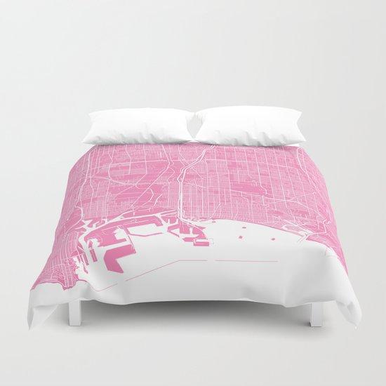 Long Beach map pink Duvet Cover