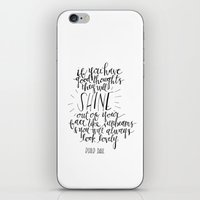 roald dahl iPhone & iPod Skins featuring They Will Shine | Roald Dahl Print by Voilà Paper Co.