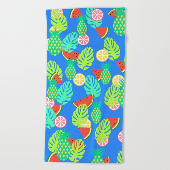 Watermelons and pineapples in blue Beach Towel