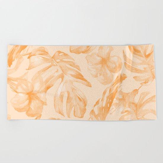 Island Vacation Hibiscus Palm Leaf Orange Beach Towel