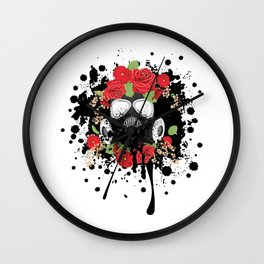 Gas Mask with Red Roses Wall Clock