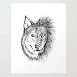 Lion Wolf Art Print