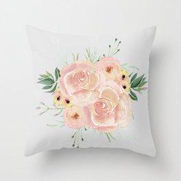 Wild Roses on Light Gray Throw Pillow