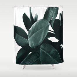 Dark Green Rubber Plant Shower Curtain