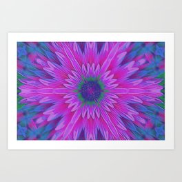 Pink Flower Kaleidoscope Abstract Art Print
