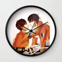 levi Wall Clocks featuring Levi x Eren by TEAM JUSTICE ink.