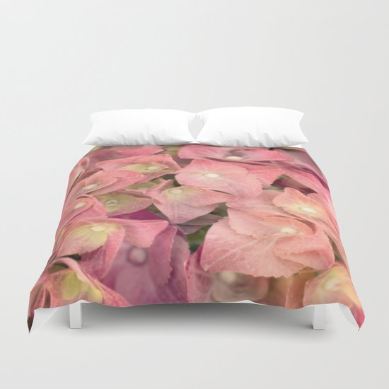 Pink hydrangea in LOVE - Flower floral Duvet Cover