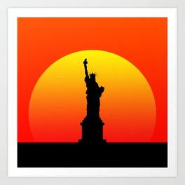 Sunset and Statue of Liberty in New York Art Print