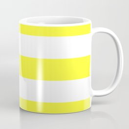Electric yellow - solid color - white stripes pattern Coffee Mug
