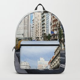 Gran Via avenue in Madrid, Spain Backpack