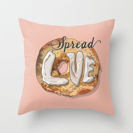 Spread Love - Cream Cheese on a Bagel Throw Pillow
