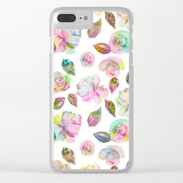 Modern elegant hand painted girly roses leaves pattern Clear iPhone Case