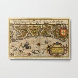Map Of Portugal 1600 Metal Print