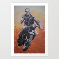 steve mcqueen Art Prints featuring Steve McQueen by cocksoupart