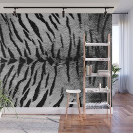 Realistic Gray Tiger Skin Print Wall Mural