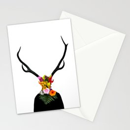 Deer head on flowers Stationery Cards