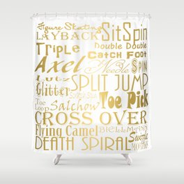 Figure Skating Subway Style Typographic Design Gold Foil Shower Curtain