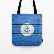 Nautical White Anchor on Vintage Blue Wood Panels Tote Bag