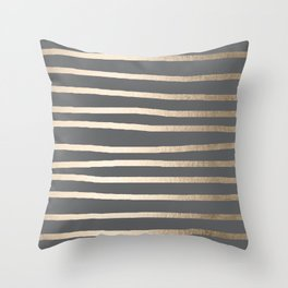 Simply Drawn Stripes White Gold Sands on Storm Gray Throw Pillow