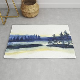 Sunset landscape painting Rug