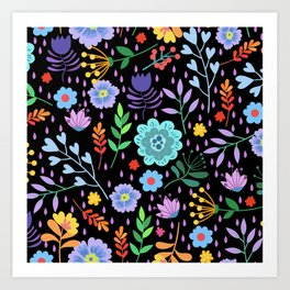 Cute colorful mixed flowers pattern Art Print