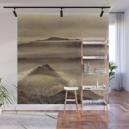 Mist At The Mountains. Painted Photograph Wall Mural