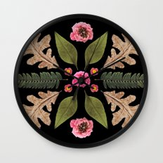 ROSE & LEAVES COLLAGE BLACK BACKGROUND Wall Clock