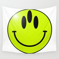 third eye Wall Tapestries featuring third eye smiley by Bente