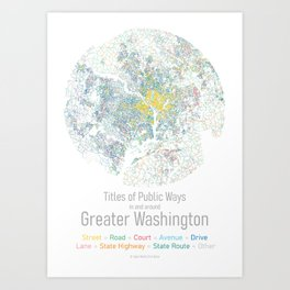 Titles of Public Ways in and around Greater Washington Art Print