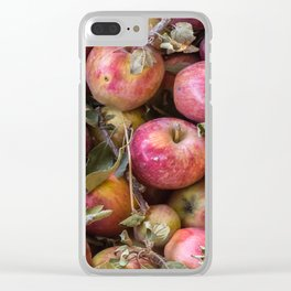 Pile of freshly picked organic farm apples with imperfections Clear iPhone Case