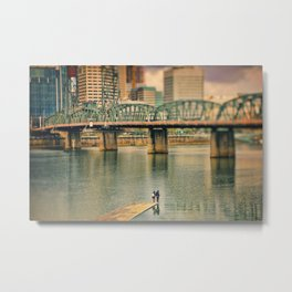 Lovers Under the Bridge Metal Print