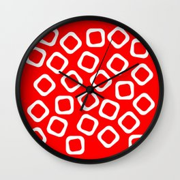 Red and White Abstraction Wall Clock
