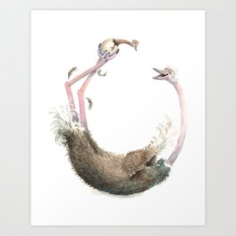 O is for Ostrich! from The Laugh-A-Bit Alphabet Collection by BirdsFlyOver Art Print