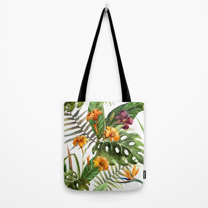 Tropical Floral Pattern 01 Tote Bag