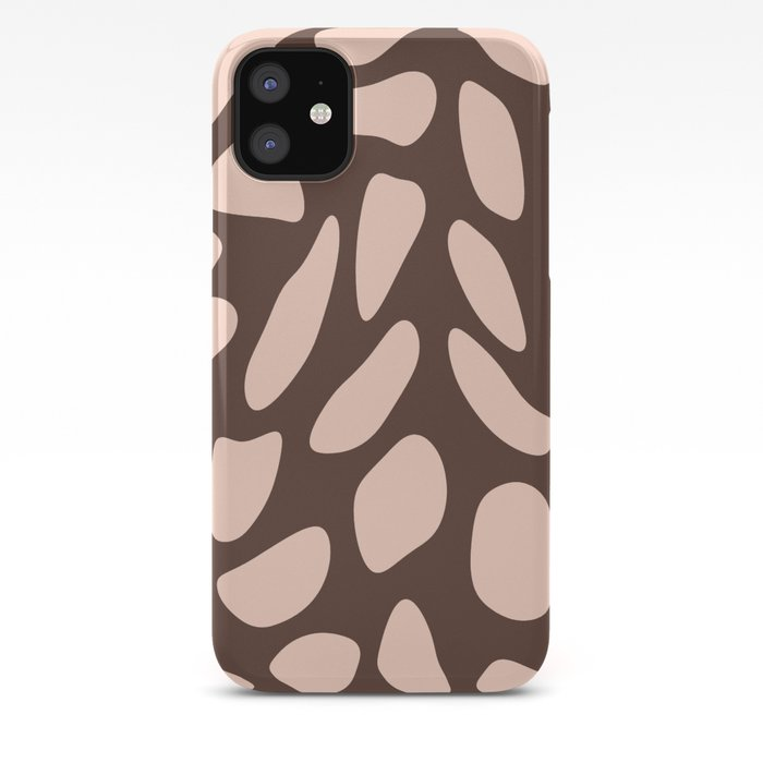 Dusty pink stones on almond brown iPhone Case