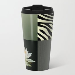 Water Lily and Zebra Green Patch Work Metal Travel Mug