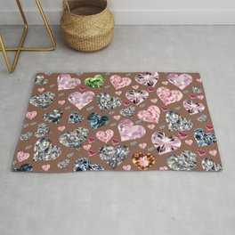 Heart Diamonds are Forever Love Brown Rug