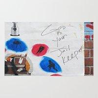 hockey Area & Throw Rugs featuring Hockey Prayer by Ethna Gillespie