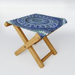 Vintage Blue Wash Mandala Folding Stool