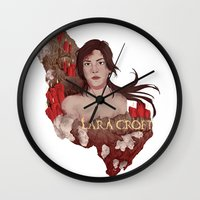 lara croft Wall Clocks featuring Lara Croft by Natalie Lucht