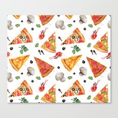Pizza Pattern, Food Pattern, Watercolor Pizza Canvas Print