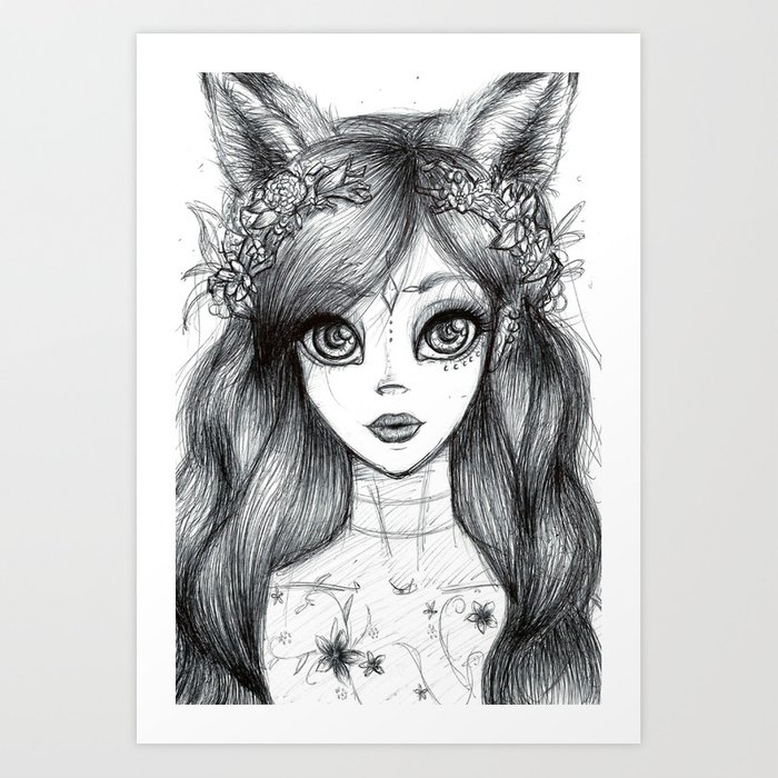 Black and white girl art print