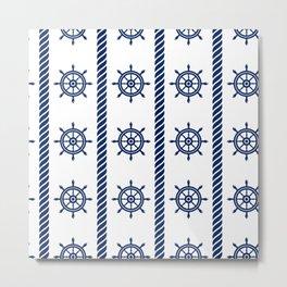 Blue Sea Rope Pattern Metal Print