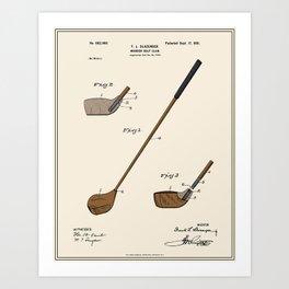 Golf Club Patent - Colour Art Print