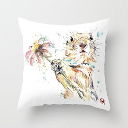 Gopher Colorful Watercolor Painting Throw Pillow