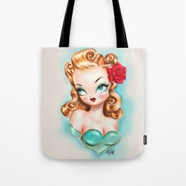 Rockabilly Babydoll Blonde with Red Rose Tote Bag