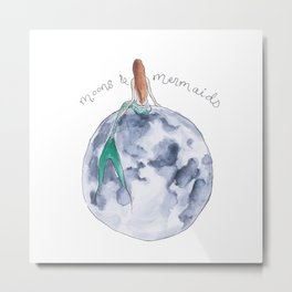 The Mermaid & The Moon Metal Print