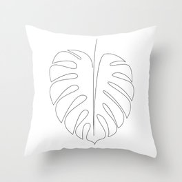 One line monstera Throw Pillow