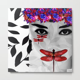 DRAGONFLY WOMAN ELEGANT RED Metal Print